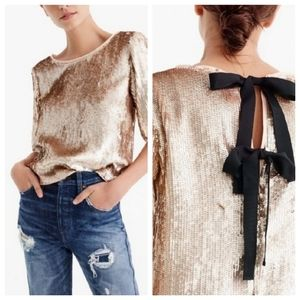 NWT J. Crew Rose Gold Sequin Top Bow Back